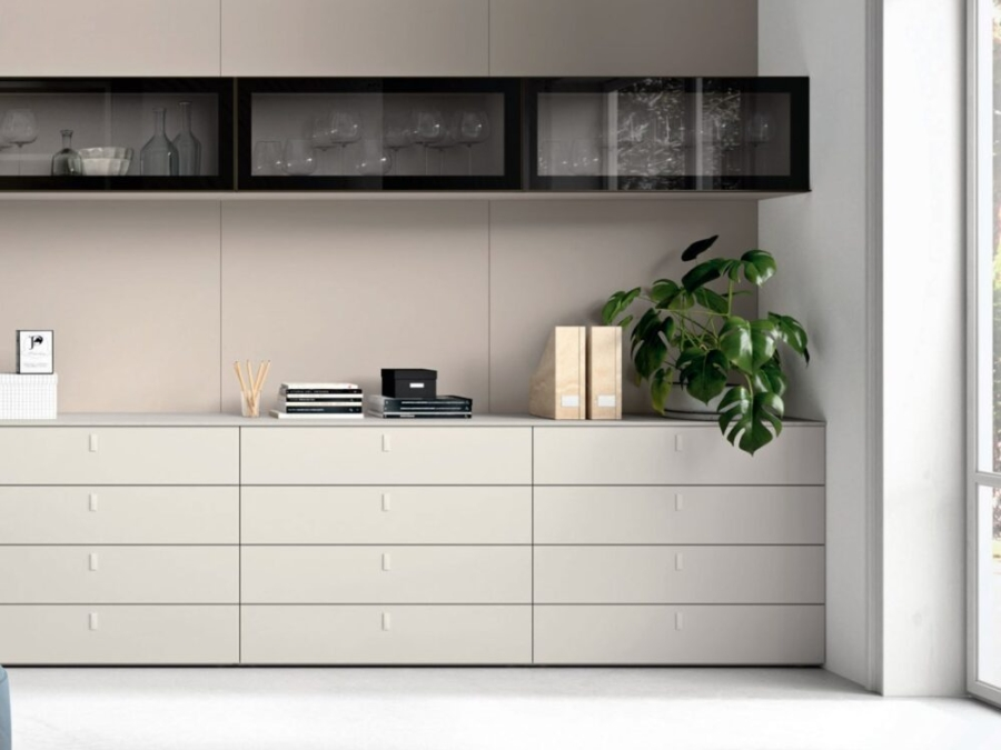 Novamobili - Wohnwand mit integriertem Tisch